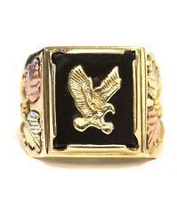 14k yellow rose green gold mens onyx eagle ring 8g gents vintage antique masom
