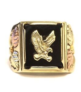 10k yellow rose green gold mens onyx eagle ring 8g gents South hills gold