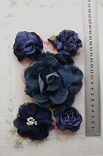 DENIM BLUE Floral Fabric Denim Lace Satin 5 Flower Pk 50-100mm Njoyfull Crafts H