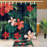 Tropical Plant Flowers Bathroom Polyester Shower Curtain Bath Rugs Mat &12 Hooks