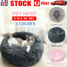 Pet Dog Cat Calming Bed Warm Soft Plush Round Nest Comfy Sleeping Kennel Cave OZ