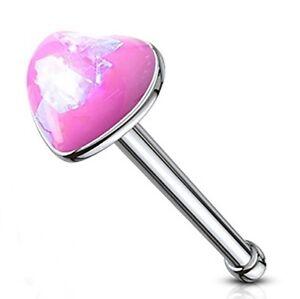 """Nose Bone Ring Heart w/Glitter Opal Pink 3mm Head 20 Gauge 1/4"""" Steel Body Jewel"""