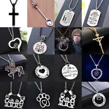 Fashion Women Men Pendants Chain Silver Necklace Heart Choker Jewelry Charm Gift