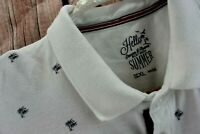 Denim Flower Ricky Singh Mens XL Polo White Palm Tree Print Short Sleeve Shirt