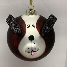 Dog Face Glass Ball Christmas Ornament 3D Floppy Ears & Muzzle Redfish Handblown