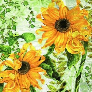 Napkins 20 Piece, Yellow Sunflowers And Green Vine Leaves Summer Scene 13x13in