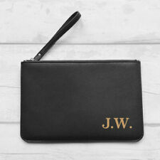 Personalised Faux Leather Clutch Bag Pouch, Any Initials,White/Pink/Black Bride