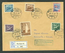 ICELAND 1939, Fish Issue (206, 217-20, 228) on FDC, VF, Facit $180.00