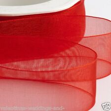 Woven Organza Ribbon 38mm X 20m - Red 5038168021402 by IO