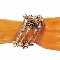 Black Glass Pearl Shell Faux Silver Charm Bauble Wrap Coil Bracelet