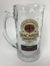 Bacardi Oakheart Smooth Spiced Rum Textured Glass Beer Stein Mug Bat Logo