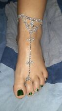 Sandal Anklet and Toe Ring 1pc Alloy Silver Plated Rhinestone Cz Barefoot Beach