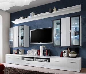 Malmo 1 - White high gloss entertainment center / living room wall unit