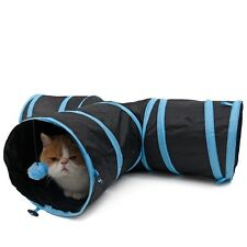 3 Way Pet Cat Tunnel Toy Y Shape Foldable Kitten Play Exercise Tunnel Cave Ball Blue