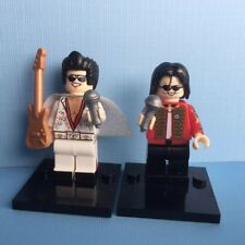 2X Michael Jackson+Elvis Presley Mini Figure Building Block Toy