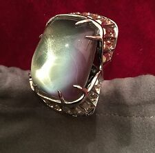 Alexis Bittar Opalized Lucite Ring with Baguette Crystals - Size 8