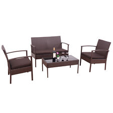 4 PCS Rattan Wicker Sofa Seat W/ Coffee Table Patio Furniture Set Outdoor Garden
