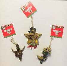 Western Christmas Ornaments Set Of 3