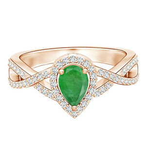 Twist Shank Pear Green Emerald Ring with Simulated Diamond 9K Rose Gold