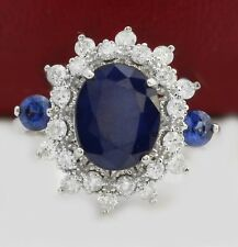 5.01 Carat Natural Sapphire and Diamonds in 14K Solid White Gold Women's Ring