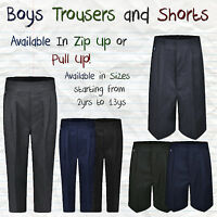 Ages 1-13 Boys Pull Up School Trousers Shorts Elasticated Teflon Zip Up Pull On