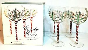New in Box Set of 4 Christmas Hand Painted CANDY CANE Wine Glasses Holiday