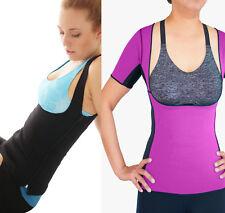 SAUNA HOT SUIT Waist Trainer Shaper Workout REVERSIBLE Short-sleeve Top Vest