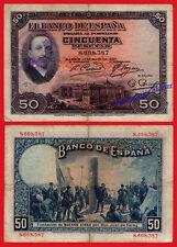 ESPAÑA SPAIN 50 Pesetas 1927 REBUBLICA Alfonso XIII Con sello Pick 80 BC / F