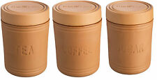 Mason & Cash Terracotta Tea Coffee Sugar Canister Set Air Tight Seal