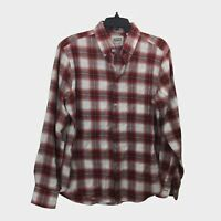 Naked & Famous Red Plaid Shadow Button Up Shirt Men's Size Medium M