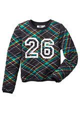 Tolles Kinder Sweatshirt in Schwarz Rot Smaragd - Gr. 116 / 122 - M1687 - 945934