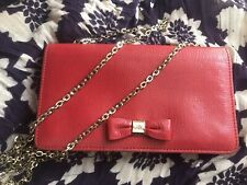 Mulberry Red Bow Clutch / Wallet On Chain