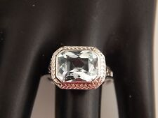 Art Deco Filigree 6.50 ct Solitaire Santa Maria AQUAMARINE Ring 18k  Engagement