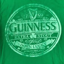Guiness T Shirt Mens M Green Cotton Short Sleeve Graphic Logo Official Shirt