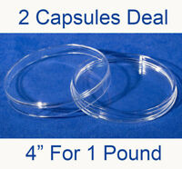 "2 XL Large 4"" Coin Safe Plastic Capsules 1 lb Medals Storage 101.60mm 7.16 High"