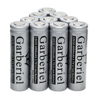 10pc Garberiel 4000mah 3.7V 18650 Rechargeable Li-ion Flat Top Battery Flat Head