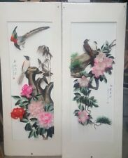Pair Vintage CHINESE BIRD FEATHER ART Signed Matted Mixed Media Paintings ART