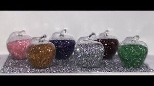 A Stunning Crushed Diamond Filled Apples (pink,silver,yellow,purple,green, red)