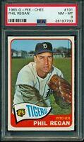 1965 TOPPS OPC O PEE CHEE #191 Phil Regan PSA 8 NM-MINT DETROIT TIGERS CARD