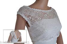 Womens Ivory  Lace V back wedding lace Bolero jacket Sizes UK 8 -18