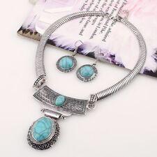 Vintage Jewelry Set Faux Blue Stone Statement Necklace Choker Earring Geometric