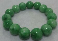 12mm NATURE BEAUTIFUL  GREEN JADE JADEITE  BRACELET GREEN HAND CATENARY AA J27