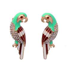 Colorful Enamel Multi-Parrot Stud Earrings Small Rhinestone Pave Bird K-pop