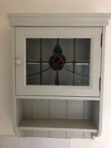 Stained Leaded Glass Bathroom Wall Cabinet Cupboard Storage Unit
