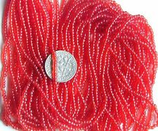 Apple Red Vintage Glass Transparent Round 11/0 Seed Beads Long Hank (7158729)