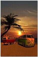 "Sunset - VW Bus Campers at Surf Beach Art Silk Poster Modern Home Decor 24x36"""