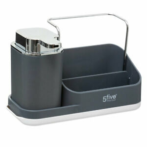 Grey Sink Tidy Caddy Organiser with Soap Dispenser Pump by 5Five  Simply Smart