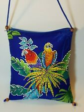 Barefoot Attitude Tropical Hawaiian Parrot Blue Beaded Fabric Crossbody Purse