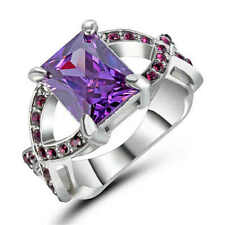 Purple Amethyst CZ Engagement Ring 18KT White Gold Filled Wedding Band Size 6
