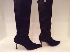 Manolo Blahnik Classic Brown Stretch Suede Boots / 38.5 / BIG PRICE DROP!